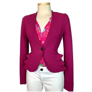 H&M Fuchsia Pink Ruffle Blazer Cropped Peplum 2